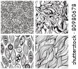 vector seamless abstract hand drawn monochrome patterns, clipping masks - stock vector