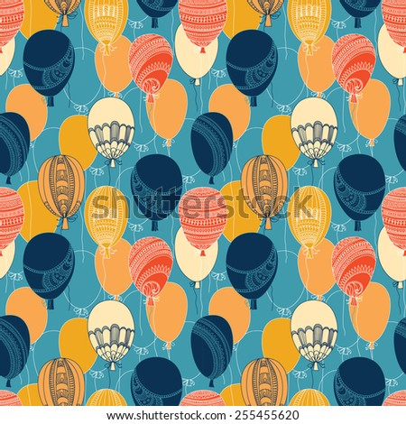 Vector seamless abstract pattern with flying colorful balloons - stock vector