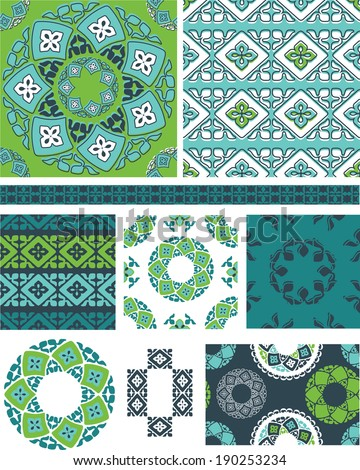 Vector Seamless Abstract Patterns.  Use as fills to create craft or fabric projects. - stock vector