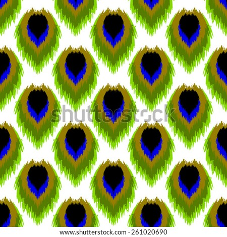 Vector Seamless Abstract Peacock Background Pattern - stock vector