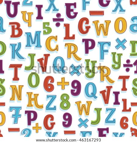 Vector seamless alphabet and numbers background pattern in bright colors. Suitable for posters and prints, wallpaper, textiles, scrap-booking, gift wrap and packaging