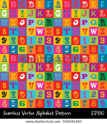Vector seamless alphabet background pattern in bright vintage colors. Suitable for posters and prints, wallpaper, textiles, scrap-booking, gift wrap and packaging. See my portfolio for JPEG version. - stock vector