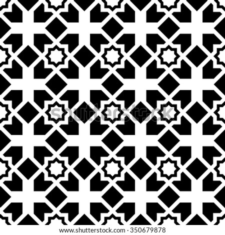 vector seamless Arabic style pattern. endless texture black and white. abstract geometric ornament background.