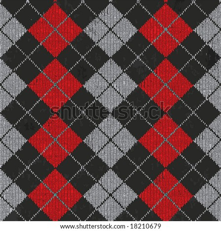 Vector Seamless Argyle Sweater Background, Realistic and Detailed. See Jpeg Also In My Portfolio - stock vector