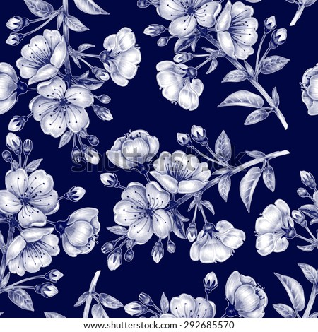 Vector seamless background. A branch of cherry blossoms. Design for fabrics, textiles, paper, wallpaper, web. Floral ornament. Black and white. - stock vector