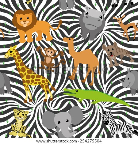 Vector seamless background. African animals.  - stock vector
