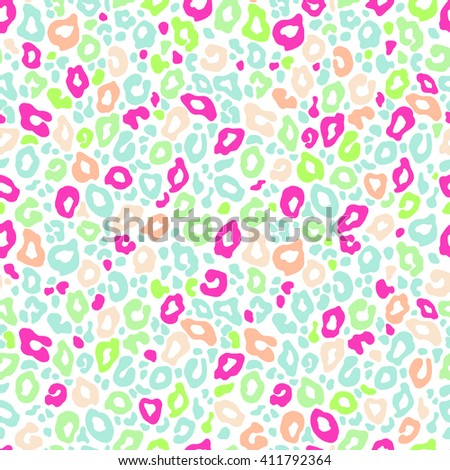 Vector seamless background. Animal leopard print color pattern - stock vector