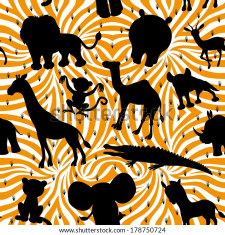 Vector seamless background. Animals silhouettes. - stock vector