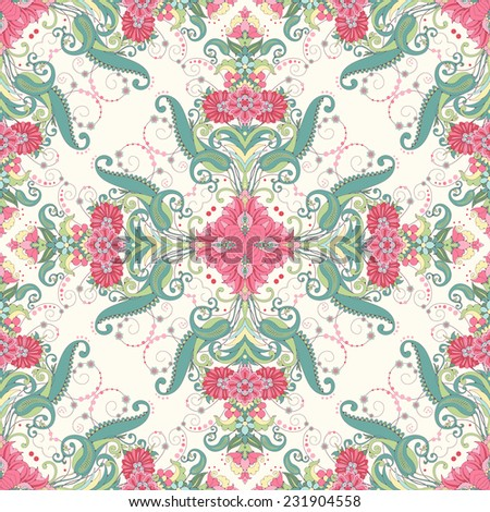 Vector seamless background. Beautiful angular oriental floral pattern. Delicate green and pink.