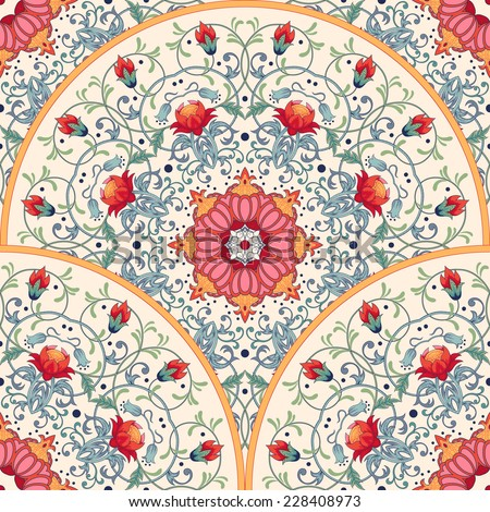 Vector seamless background beautiful floral round pattern with