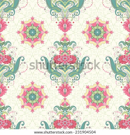 Vector seamless background. Beautiful oriental floral pattern and a round decor. Seamless delicate ornament. Delicate green and pink. - stock vector