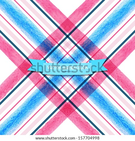Vector seamless background. Checkered pattern with watercolor stripes.  Hand drawing. - stock vector