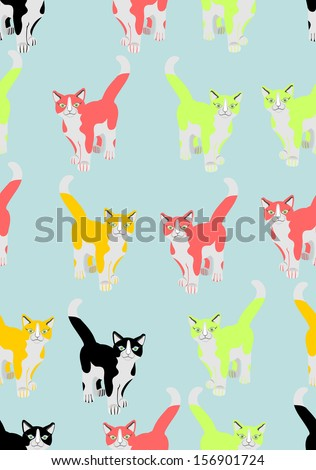 Vector seamless background, coloured cats  - stock vector
