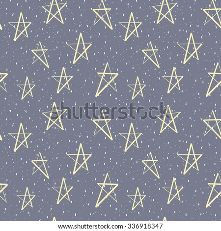 Vector seamless background. Cute Christmas pattern with gold stars and snow.
