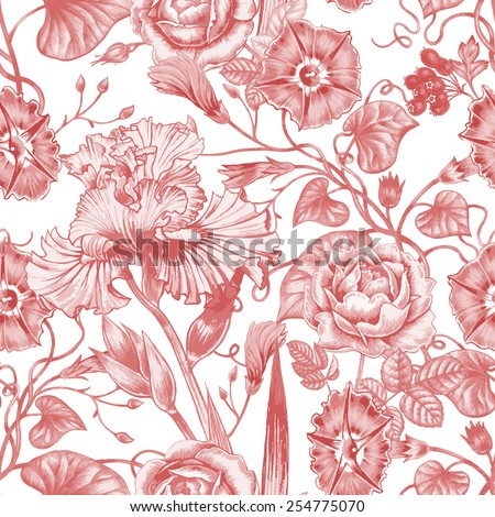 Vector seamless background. Design for fabrics, textiles, paper, wallpaper, web. Irises, roses, bindweed. Retro. Vintage style.