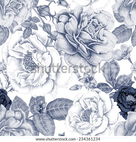 Vector seamless background. Design for fabrics, textiles, paper, wallpaper, web. Roses, peonies, anemones, bluebells. Retro. Vintage style. Floral ornament. - stock vector