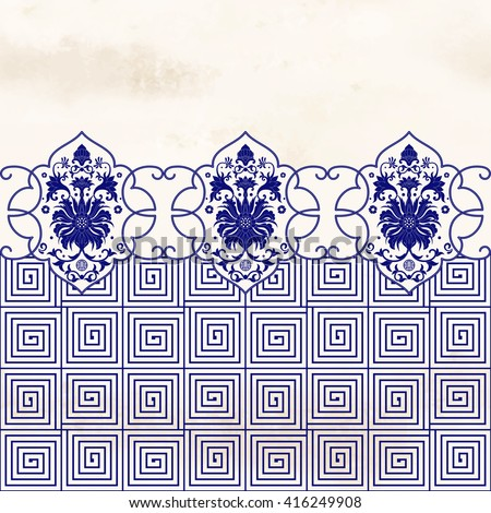 Vector seamless background. Elegant floral border in chinese style. Scroll pattern on watercolor backdrop. Imitation of chinese porcelain painting. - stock vector
