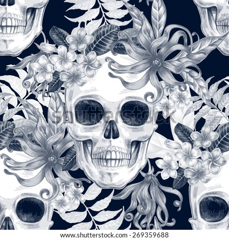Vector seamless background. Exotic flowers. Ylang,  palm leaves, skulls. Design for fabrics, textiles, paper, wallpaper, web. Retro. Vintage style. Floral ornament. Black and white. - stock vector