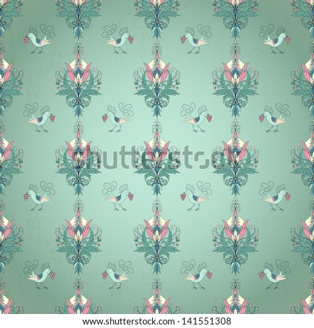 Vector seamless background. Floral vintage pattern. Beautiful fantasy flowers with leaves and berries. Decorative bird pecks berries. - stock vector