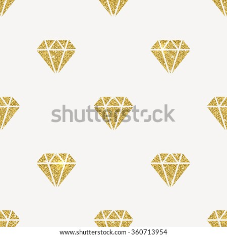 Vector seamless background - Glitter gold diamonds - stock vector