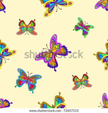 Vector seamless background, multi-coloured butterflies with opened wings