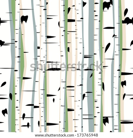 Vector seamless background of dense forest birches. - stock vector