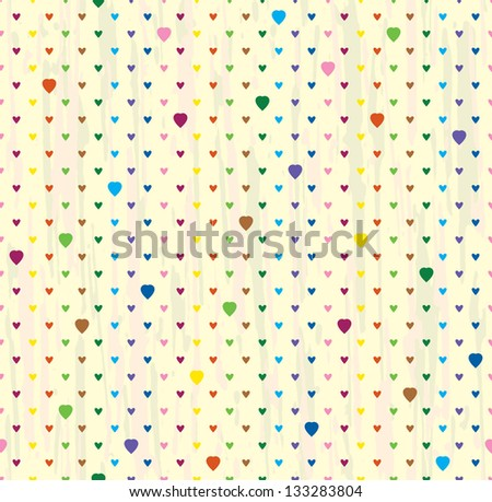 Vector seamless background of hearts. Bright points on a light.