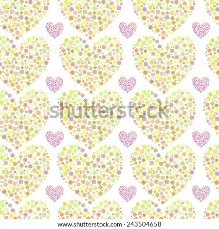 Vector seamless background of hearts. Design for romantic background, festive background, cards and wrapping paper.
