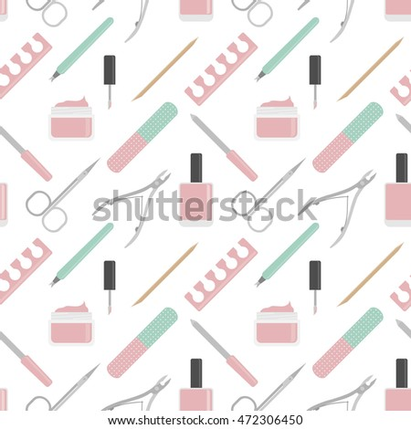 Vector seamless background of nail accessories. Manicure flat pattern.