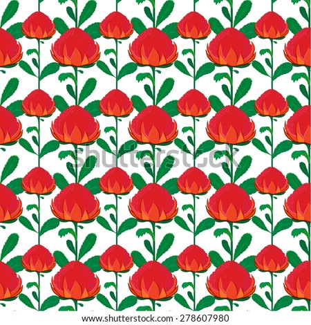 Vector seamless background of red waratah flower with green leaves. Unique and elegant background seamless pattern for website, digital scrapbooking, wallpapers, textile, upholstery and wrapping paper - stock vector