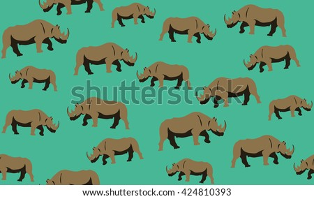 Vector seamless background of rhinos. Chaotic rhinos