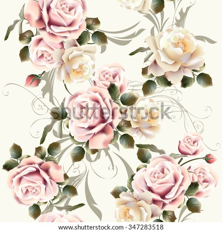 Vector seamless background or pattern with rose flowers in retro style - stock vector