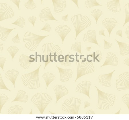 Vector seamless background pattern: ginkgo leaves, beige on pale yellow - stock vector