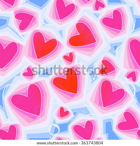 Vector seamless background. Pink and blue geometric pattern of hearts. Light texture for Valentine's Day, printing, wrapping paper, background for wedding invitations, textiles, fabrics, home decor - stock vector