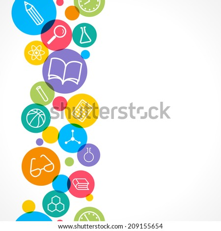 Vector seamless background. Science and education concept. Set of flat icons. - stock vector