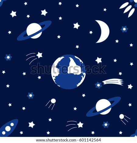 Vector seamless background to the holiday International Day Of Human Space Flight. Illustration for celebration design. It can be used for decoration greetings, invitations, advertising banner, poster