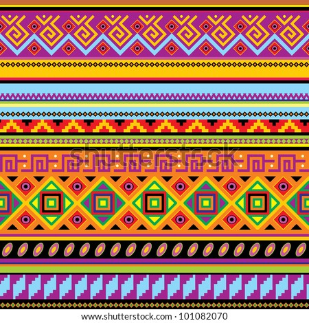 vector seamless background with a mexican ornament - stock vector