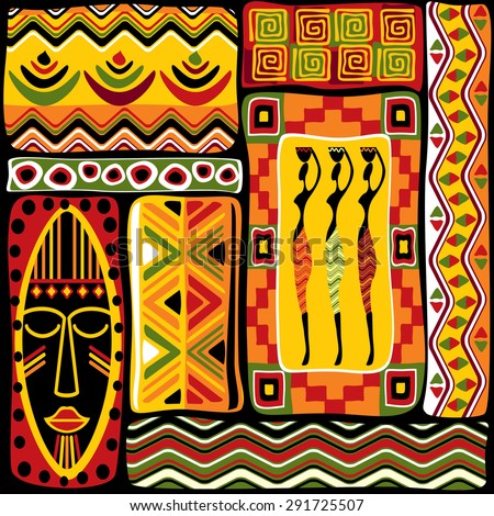 vector seamless background with African design elements