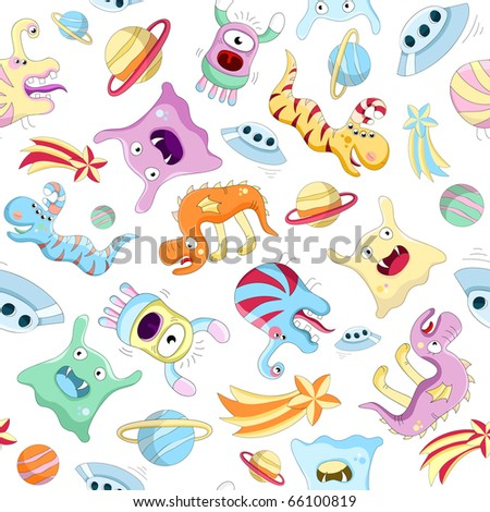 Vector seamless background with aliens and monsters - stock vector