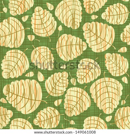 vector seamless background with autumn leaves. Texture of green linen cloth.. - stock vector