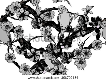 Vector seamless background with bird and cherry blossoms - stock vector