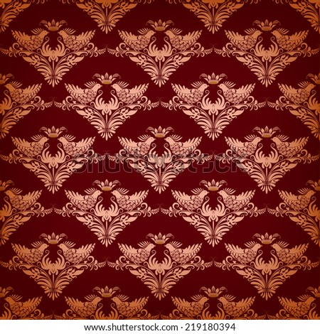 Vector seamless background with birds and crown on dark red background - stock vector