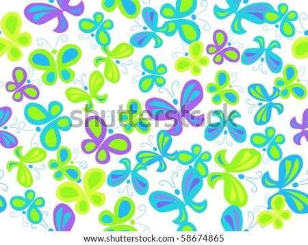 vector seamless background with butterflies - stock vector
