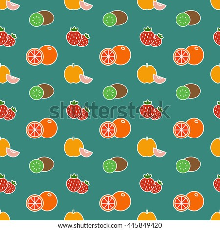 Vector seamless background with color fruits and strawberry - stock vector