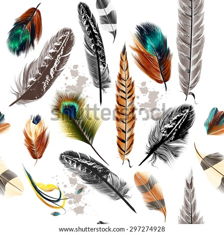 Vector seamless background with colorful and engraved feathers - stock vector