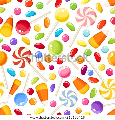 Vector seamless background with colorful Halloween candies on a white background. - stock vector