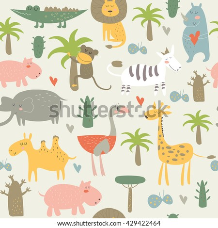Vector seamless background with cute animals of Africa in cartoon style - stock vector