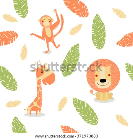 Vector seamless background with cute lion, a giraffe and a monkey. It can be used for printing on fabric for children - stock vector