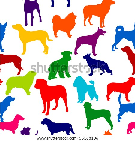 vector seamless background with dogs silhouettes. - stock vector