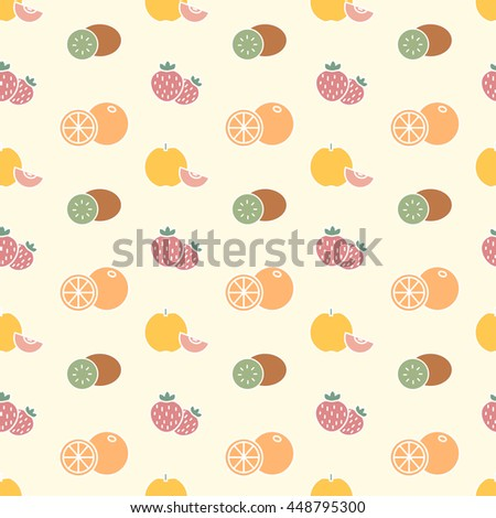 Vector seamless background with fruits and strawberry - stock vector